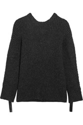 3.1 Phillip Lim Embellished Ribbed Knit Open Back Sweater Charcoal