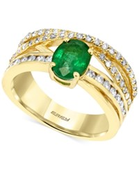 Brasilica By Effy Collection Emerald 1 1 10 Ct. T.W. And Diamond 1 2 Ct. T.W. Ring In 14K Gold Yellow Gol