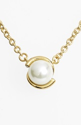 Kate Spade 'Dainty Sparklers' Faux Pearl Pendant Necklace Cream