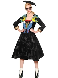 Tsumori Chisato Embellished And Flocked Mesh Neoprene Coat Black