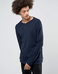 Weekday Make Long Sleeve Top Grandad Waffle 73 216 Dark Blue