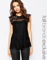 Y.A.S Tall Allover Lace Tiered Top Black
