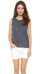 Vince Linen And Lace Tank French Blue Black