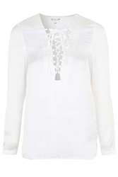 It's A Wrap Lace Up Blouse By Wyldr Ivory