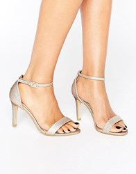 New Look Wide Fit Shimmer Barely There Heeled Sandal Gold