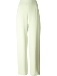Jean Louis Scherrer Vintage Wide Crepe Trousers Green