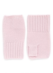 Ish Cashmere Knit Fingerless Gloves Pink