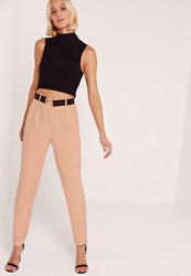 Missguided Contrast Clasp Belt Cigarette Trousers Pink Pink