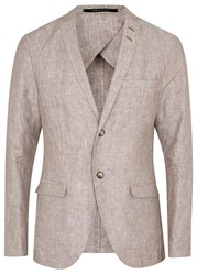 Tiger Of Sweden Jil 5 Dark Brown Linen Blazer Beige
