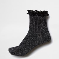 River Island Womens Black Sparkly Frill Ankle Socks