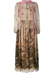 Alberta Ferretti Floral Print Maxi Dress Pink And Purple