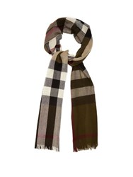 Burberry Checked Wool And Cashmere Blend Scarf Green Multi