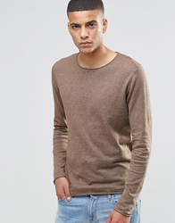 Selected Homme Silk Mix Knitted Jumper With Raw Edge Camel Beige