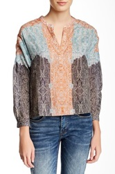 Twelfth St. By Cynthia Vincent Cropped And Printed Blouse Multi
