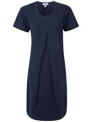 Pure Collection Porter Silk Linen Cocoon Dress Navy