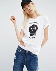 Carhartt Wip Carrie Don't Ask T Shirt With Skater Skull Print White