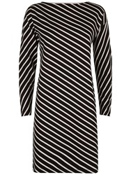 Jaeger Diagonal Breton Dress Black White