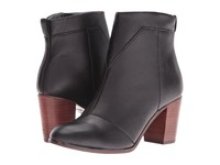 Toms Lunata Bootie Black Leather Women's Zip Boots
