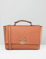 Asos Satchel Bag With Metal Lock Tan Multi