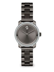 Movado Bold Diamond And Grey Ip Stainless Steel Bracelet Watch Black