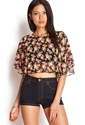 Forever 21 Flutter Sleeve Floral Crop Top