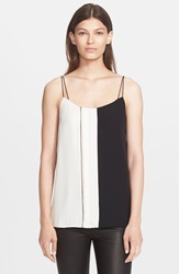 Vince Colorblock Ladder Stitch Camisole Off White Black