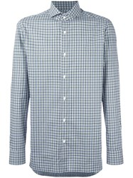 Borrelli Spread Collar Plaid Shirt Green