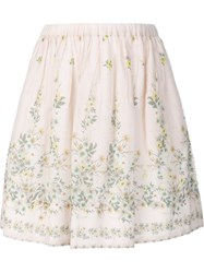 Sea Floral Print Pleated Skirt Nude And Neutrals