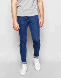 Pull And Bear Slim Jeans In Mid Wash Blue Blue