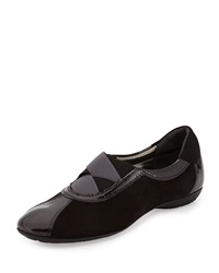 Sesto Meucci Bryna Shimmer Suede Combo Flat Pewter
