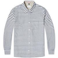 Apolis Button Down Twill Stripe Shirt Navy And White