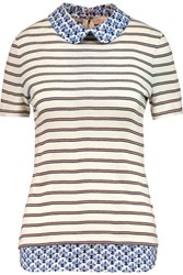 Tory Burch Alexandra Poplin Trimmed Striped Cotton Jersey Top Ivory