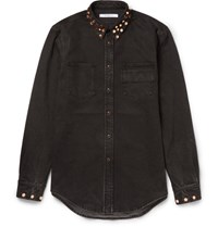 Givenchy Cuban Fit Studded Stretch Denim Shirt Black
