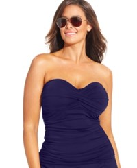 Anne Cole Plus Size Twist Front Tankini Top Women's Swimsuit Navy