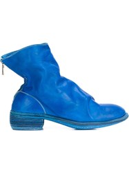 Guidi Back Zip Ankle Boots Blue