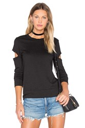 Monrow Heather Fleece Open Sleeve Sweatshirt Black
