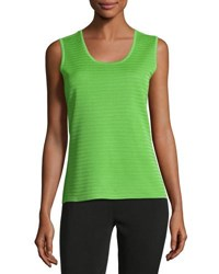 Ming Wang Scoop Neck Textured Knit Tank Gra