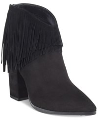 Kenneth Cole Reaction Pull Ashore Fringe Booties Women's Shoes Black