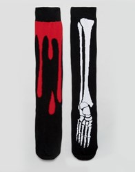 Asos Halloween Long Length Socks With Skeleton And Blood Drip 2 Pack Black
