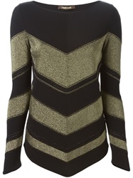 Roberto Cavalli Chevron Sweater Black