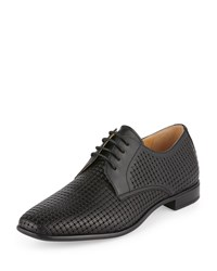Neiman Marcus Ken Perforated Leather Oxford Black