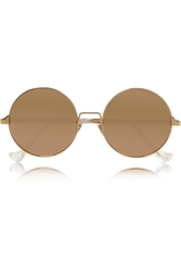 Cutler And Gross Round Frame Gold Plated Mirrored Sunglasses