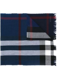 Burberry Checked Scarf Blue