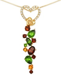 Sis By Simone I Smith Pave Heart And Multi Color Crystal Drop Necklace In 18K Gold Over Sterling Silver