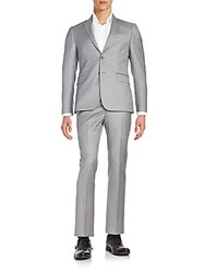 Saks Fifth Avenue Slim Fit Basic Wool Suit Light Grey