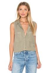 Bella Dahl Sleeveless Boyfriend Shirt Brown