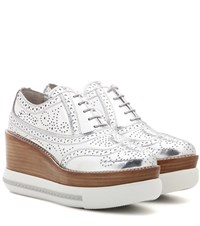 Miu Miu Metallic Leather Platform Oxford Shoes Silver