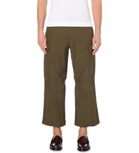 Beams Plus Military Cropped Cotton Trousers Olive