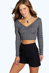 Boohoo Kate L S Shimmer Crop Top Silver