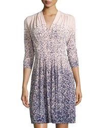 Catherine Catherine Malandrino Tinka Printed V Neck 3 4 Sleeve Dress Dawn Night Dawn Black